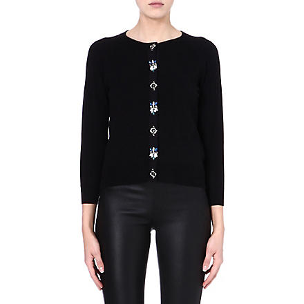 KAREN MILLEN Embellished cotton-blend cardigan (Black