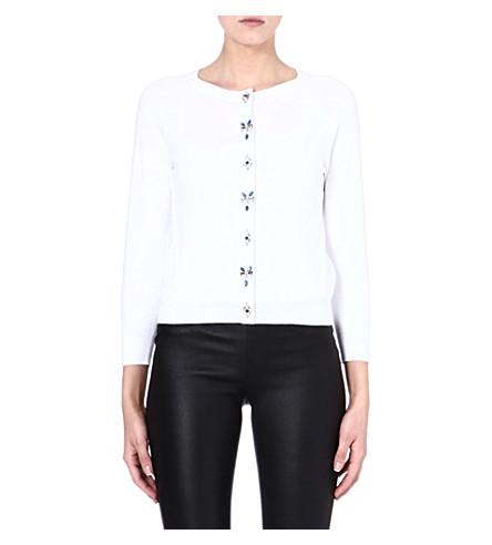 KAREN MILLEN Embellished cotton-blend cardigan (White