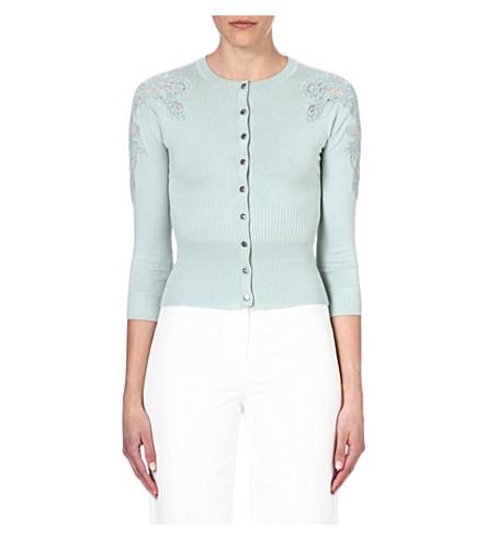 KAREN MILLEN Lace-sleeve cardigan (Aqua