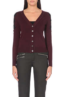 KAREN MILLEN Beaded lace-sleeve cardigan
