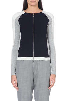 KAREN MILLEN Open-knit colour-block cardigan