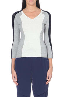 KAREN MILLEN Open-knit colour-block jumper