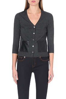 KAREN MILLEN Faux leather pocket cardigan