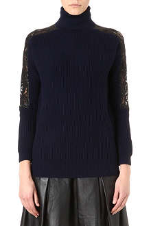 KAREN MILLEN Chunky wool-blend and lace jumper
