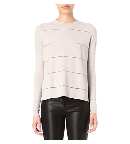 KAREN MILLEN Semi-sheer striped jumper (Stone