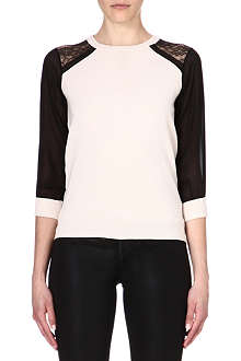 KAREN MILLEN Sheer and lace panel jumper