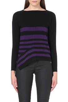 KAREN MILLEN Stripe-detail knitted jumper