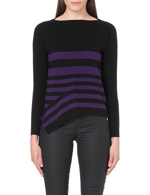 KAREN MILLEN Stripe-detail knitted jumper