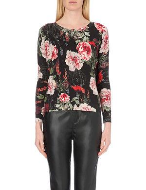 KAREN MILLEN Rose-print knitted jumper