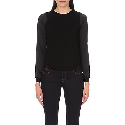 KAREN MILLEN Silk sleeve knit jumper (Black