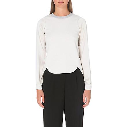 KAREN MILLEN Silk sleeve knit jumper (Neutral