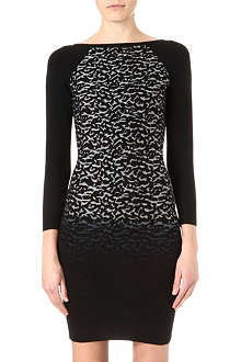 KAREN MILLEN Dip-dye leopard knitted dress