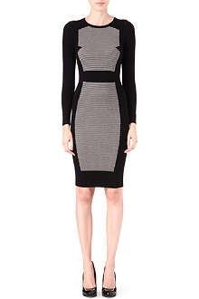 KAREN MILLEN Mesh shoulder knitted dress