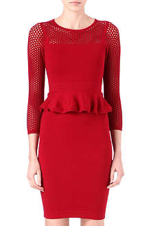 KAREN MILLEN Peplum mesh knitted dress