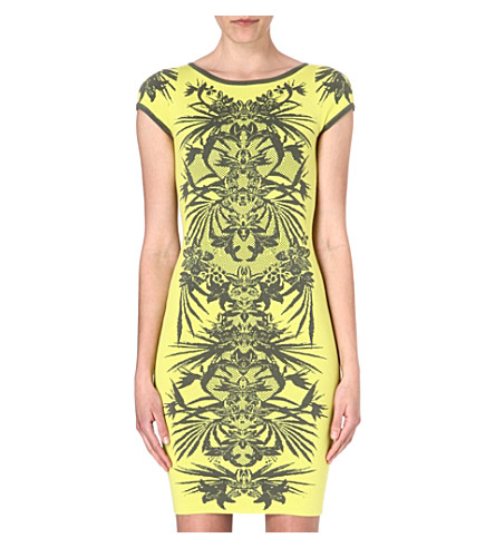 KAREN MILLEN Jungle jacquard dress (Green/multi
