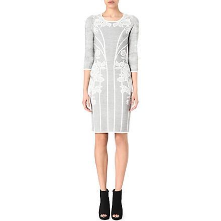 KAREN MILLEN Lace jacquard knitted dress (Grey