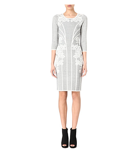 KAREN MILLEN Lace jacquard knitted dress (Grey