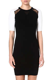 KAREN MILLEN Sheer and lace panel dress