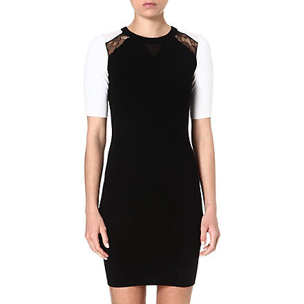 KAREN MILLEN Sheer and lace panel dress (Black/multi