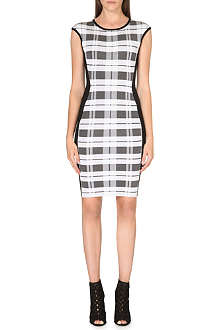 KAREN MILLEN Check bandage knit dress