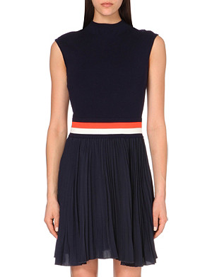 KAREN MILLEN Signature pleated knitted and crepe dress