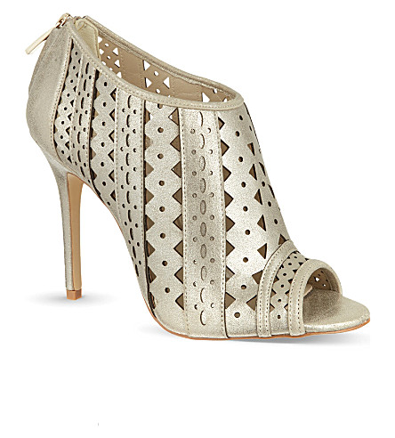 KAREN MILLEN Cutwork metallic shoe boots (Gold