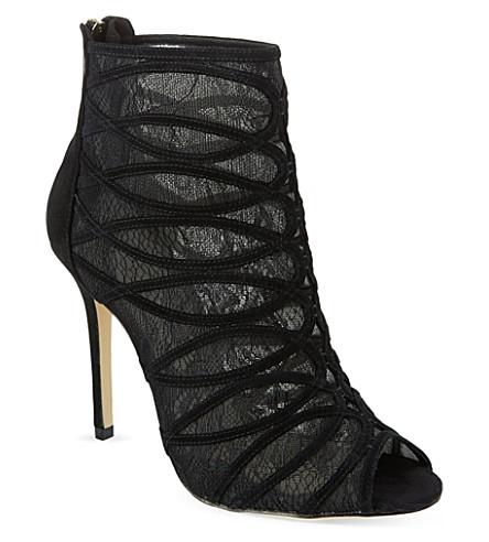 KAREN MILLEN Lace & suede ankle boots (Black
