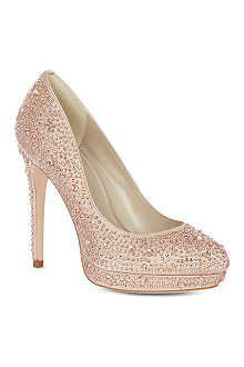 KAREN MILLEN Limited edition crystal encrusted court shoes