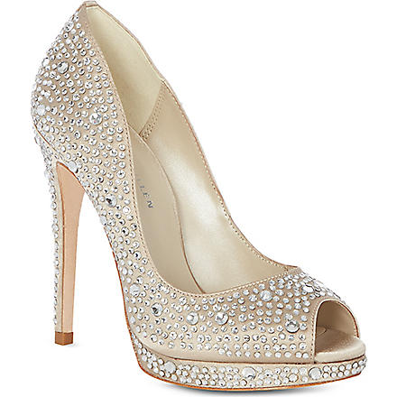KAREN MILLEN Limited edition crystal embellished court shoes (Champagne