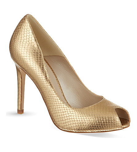 KAREN MILLEN Snake print peep toe courts (Gold