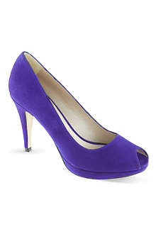 KAREN MILLEN Suede peep-toe court shoes