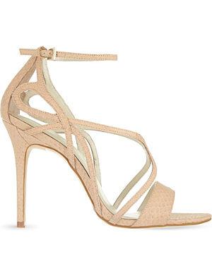 KAREN MILLEN Snake strappy heeled sandals
