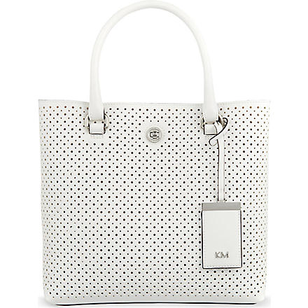 KAREN MILLEN Small perforated tote (White