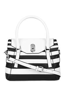 KAREN MILLEN Striped leather shoulder bag