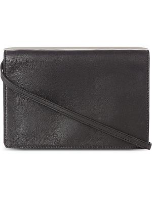 KAREN MILLEN Sleek metal leather clutch