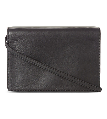 KAREN MILLEN Sleek metal leather clutch (Black