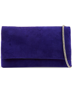 KAREN MILLEN Signature suede fold-over clutch