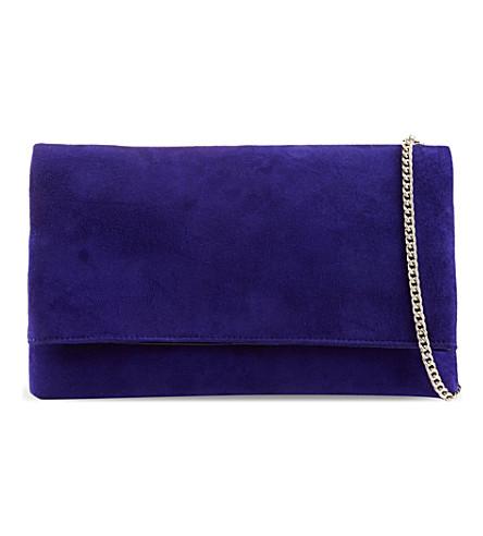 KAREN MILLEN Signature suede fold-over clutch (Blue
