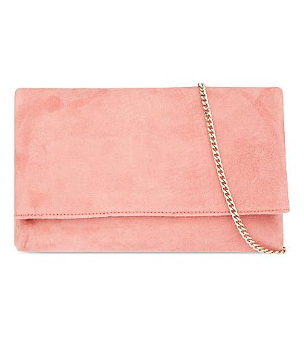 KAREN MILLEN The Brompton foldover suede clutch (Pale pink