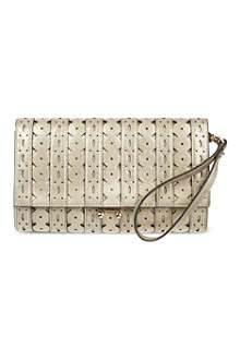 KAREN MILLEN Cutwork metallic clutch