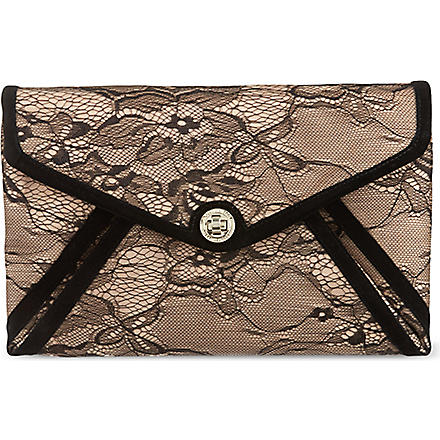 KAREN MILLEN Lace envelope clutch (Black