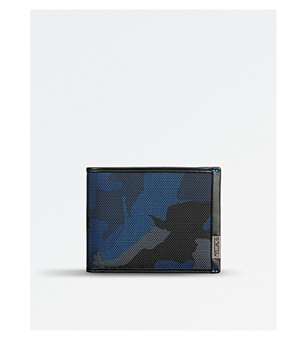 TUMI ID lock global double billfold wallet (Blue+camo