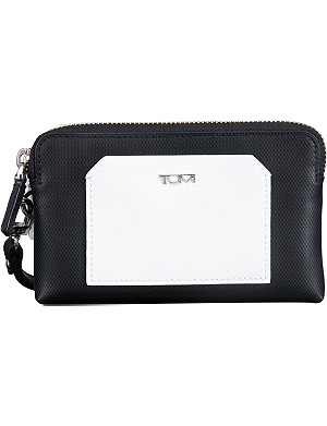 TUMI Prism Double Zip leather phone case