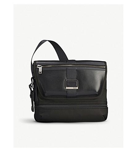 TUMI Alpha Bravo Travis nylon and leather cross-body bag (Black