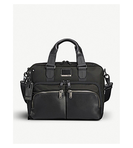 TUMI Albany slim commuter leather and fabric brief bag (Black