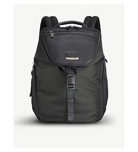 TUMI Alpha Bravo Willow ballistic nylon and leather backpack (Black