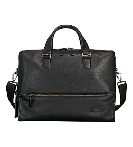 TUMI Horton double-zip leather brief case bag (Black+pebbled