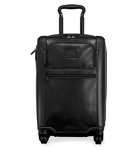 TUMI Alpha 2 International four-wheel expandable leather carry on (Black