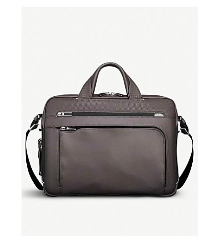 TUMI Arrivé Sawyer leather briefcase (Taupe