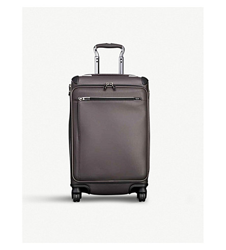 TUMI Gatwick International expandable carry on leather suitcase 56cm (Taupe